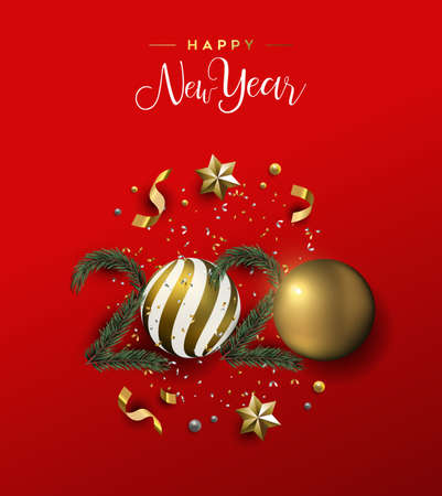 Happy New Year greeting card or party invitation of gold 3d holiday decoration in 2020 number shape. Xmas ornament baubles, pine tree and golden stars on festive red background.