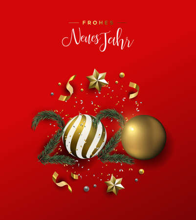 Happy New Year german language greeting card of gold 3d holiday decoration in 2020 number shape. Xmas ornament baubles, pine tree and golden stars on festive red background. Stock Illustratie