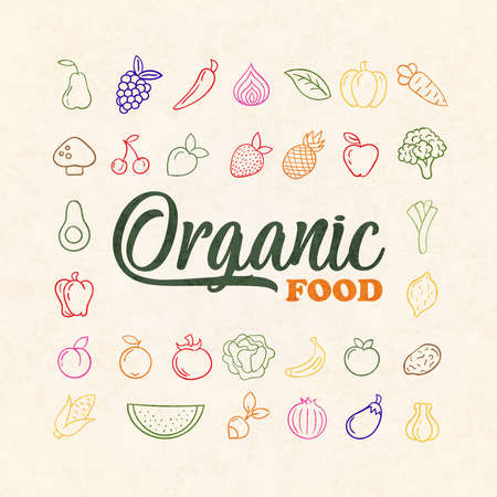 Organic food icon set of colorful vegetable fruit in hand drawn outline style. Healthy cooking ingredient collection includes apple, watermelon, tomato, corn and more. Illusztráció