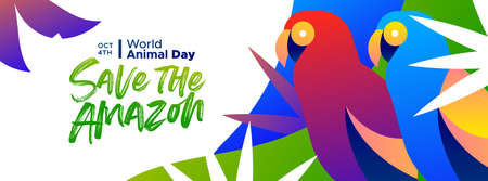 Save the Amazon web banner illustration for world animal day, rainforest deforestation awareness concept. Colorful brazilian macaw birds in modern vibrant flat gradient style.
