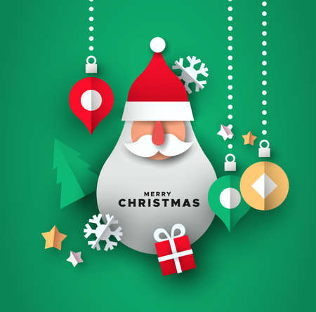 Merry Christmas illustration of realistic 3d papercut decoration. Holiday season icons with santa claus shape ornament.