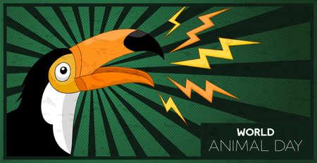Welttiertagesillustration des wilden Tukanvogels für leistungsfähige Tierrechtskampagne oder Naturschutzveranstaltung. Vektorgrafik