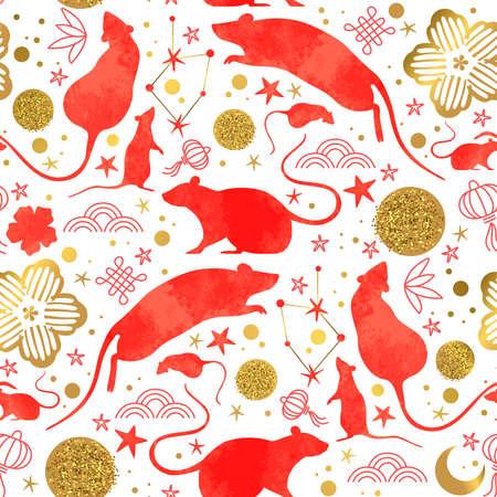 Año nuevo chino de la rata de patrones sin fisuras con animales de ratón de acuarela roja, iconos de la cultura asiática de oro y garabatos dibujados a mano. Fondo de vacaciones tradicional festival lunar.