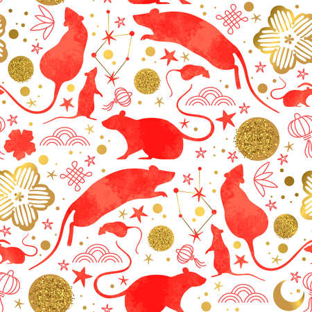 Chinese New Year of the rat seamless pattern with red watercolor mouse animals, gold asian culture icons and hand drawn doodles. Traditional lunar festival holiday background.