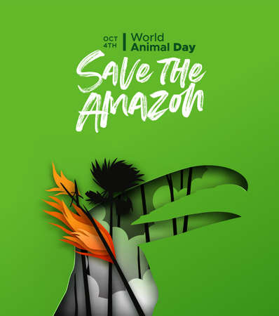 Save the amazon papercut illustration for world animal day. Paper cut toucan bird with forest fire landscape in 3d cutout style. Endangered species conservation or rainforest deforestation concept.