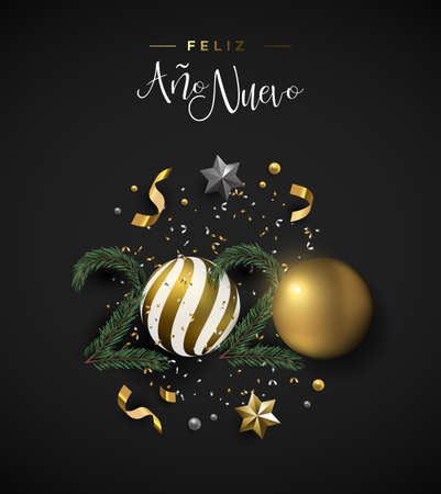 Happy New Year 2020 spanish language greeting card of 3d holiday decoration. Realistic luxury xmas ornament layout includes gold bauble, stars and pine tree on black background.
