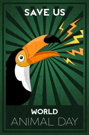 Illustration de la journée mondiale des animaux d'un oiseau toucan sauvage pour une puissante campagne sur les droits des animaux ou un événement de conservation.