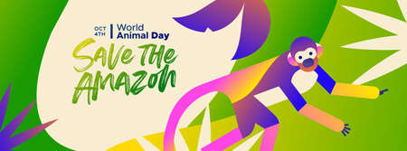 Save the Amazon web banner illustration for world animal day, endangered species conservation concept. Brazilian rainforest squirrel monkey in modern colorful flat gradient style.