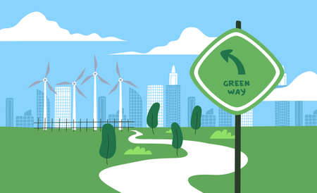 Green way traffic sign for environment care change concept. Eco friendly urban landscape of wind mills, trees and skyscraper houses.