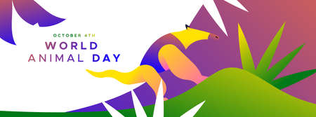 World animal day web banner illustration of colorful anteater in modern flat vibrant gradient style. Endangered species protection or wildlife conservation concept.