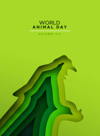 World animal day papercut illustration of wild panther or jaguar cat roaring with open mouth. Endangered species conservation concept, wildlife protection holiday design in paper cutout style. Vettoriali