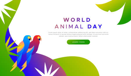World animal day landing web page background template of exotic tropical macaw birds in modern flat vibrant gradient style. Endangered species protection or wildlife conservation concept for online campaign.