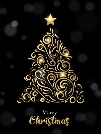Merry Christmas greeting card illustration in gold and black with pine tree. Ideal for holiday greeting card, poster or web.