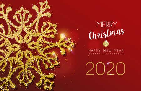 Mensaje de feliz Navidad y próspero año nuevo 2020 con copo de nieve dorado hecho de polvo de brillo dorado realista. Ideal para tarjetas navideñas o invitaciones a fiestas de lujo.