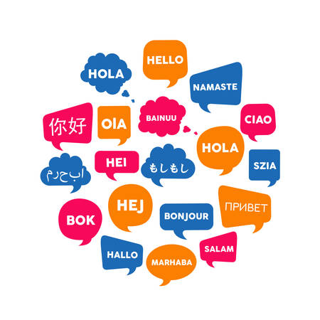 Chat bubbles with the word hello in different foreign languages, concept illustration for translation idea or international communication. EPS10 vector.
