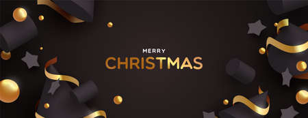 Merry Christmas web banner illustration. Abstract 3d ornaments on black color background with luxury gold decoration.