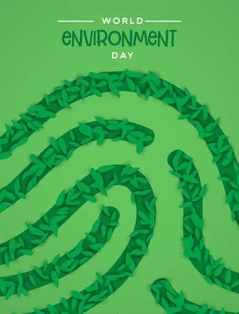 World Environment Day illustration. Human finger print made of green plant leaves on green background. Stock Illustratie