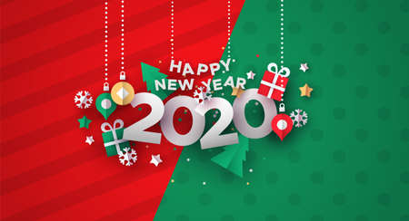 Happy New Year 2020 greeting card illustration of festive holiday papercut decoration.