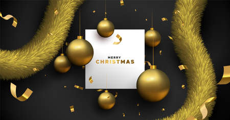 Merry Christmas greeting card template. Illustration of realistic black background and 3d ornament baubles with white copy space frame. Vettoriali