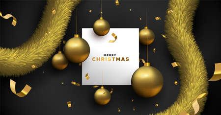 Plantilla de tarjeta de felicitación de Navidad feliz. Ilustración de fondo negro realista y adornos de adorno 3d con marco de espacio de copia en blanco.