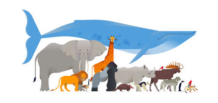 Animal collection on isolated white background. Diverse wild animals flat cartoon for educational wildlife childrens design or endangered fauna project.
