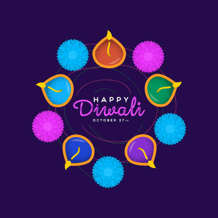 Happy Diwali festival greeting card illustration of traditional hindu celebration flowers and candles cartoon for indian holiday event.