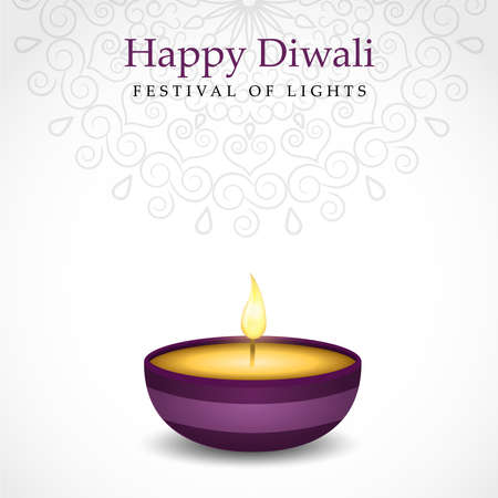 Happy diwali festival greeting card of traditional purple indian diya candle and gold lights.