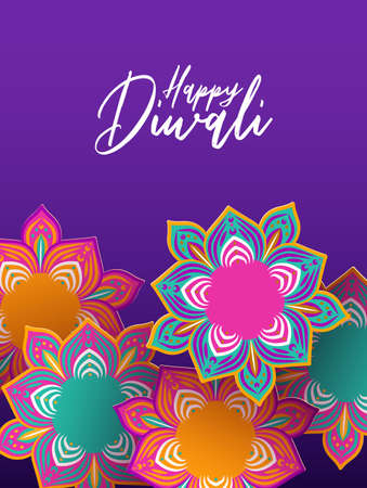 Happy Diwali festival greeting card illustration of traditional hindu celebration flowers in 3d papercut style for indian holiday event.