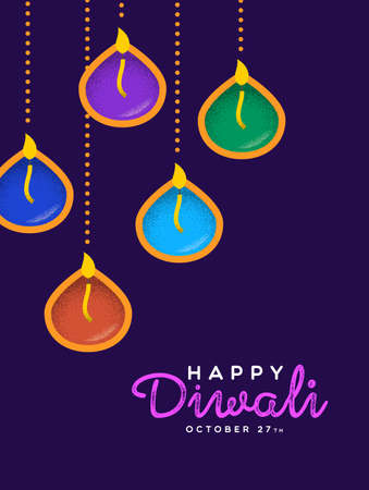 Happy Diwali festival greeting card illustration of traditional hindu celebration diya candles cartoon for indian holiday event.