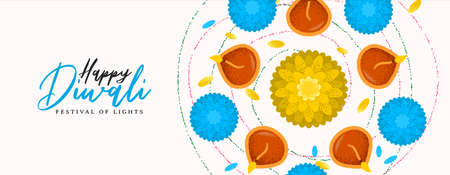 Happy Diwali festival web banner illustration of traditional hindu celebration flowers and candles cartoon for indian holiday event.