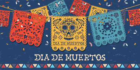 Day of the dead greeting card for mexican celebration, traditional mexico papercut banner decoration with colorful skulls and party confetti. Ilustração