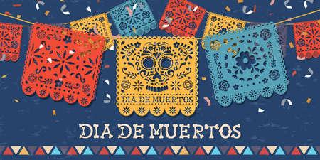 Tag der Toten Grußkarte für mexikanische Feier, traditionelle mexikanische Papierschnitt-Bannerdekoration mit bunten Totenköpfen und Partykonfetti.