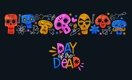 Day of the dead greeting card illustration, colorful watercolor sugar skulls and hand drawn mexico culture icons for traditional mexican holiday event background.