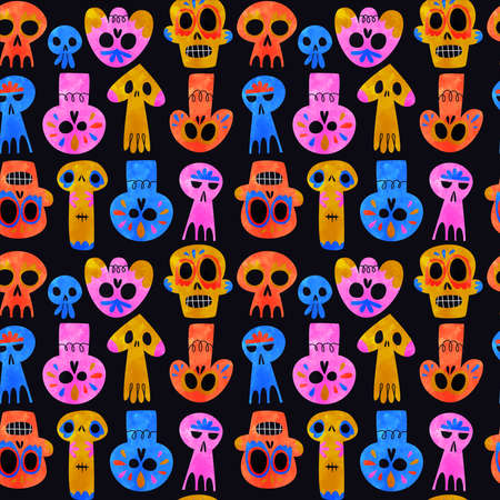Day of the dead skull seamless pattern, funny watercolor skeleton smiley faces, colorful mexican culture icon background.