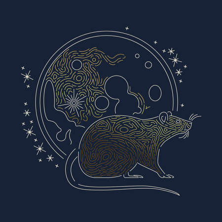 Rat animal illustration with luxury gold moon in modern outline style. Astrology design for chinese new year or horoscope concept.