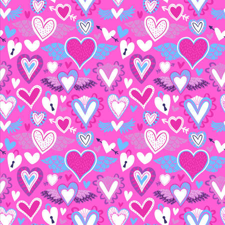 Heart shape seamless pattern, pink cupid hearts in flat cartoon art style for valentines day holiday or romantic event.