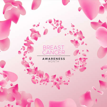 Breast Cancer awareness month floral banner illustration, circle frame made of rose flower petals for health campaign concept background.