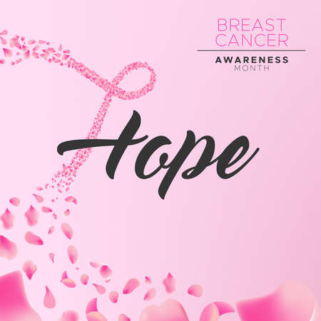 Breast Cancer awareness month floral illustration, hope text calligraphy message and pink ribbon shape made of rose flower petals for health campaign concept background.
