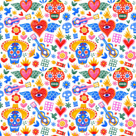 Day of the dead seamless pattern with traditional mexico culture icons in colorful watercolor art style. Mexican holiday background for festive event.