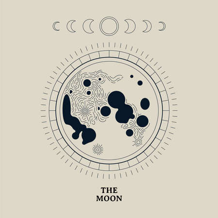 Vintage moon illustration of lunar phases. Night astronomy concept on isolated background.