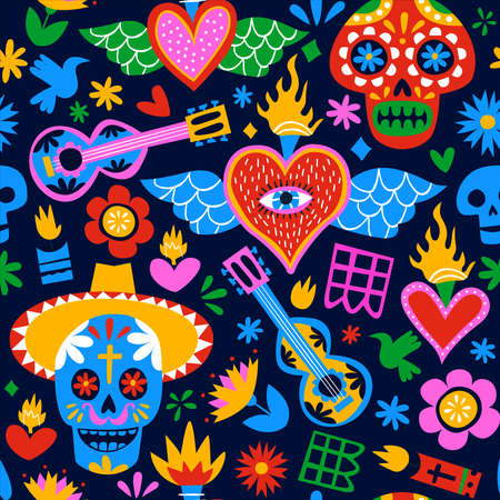 Day of the dead seamless pattern with traditional mexico culture icons in colorful flat cartoon style. Mexican holiday background for festive event.