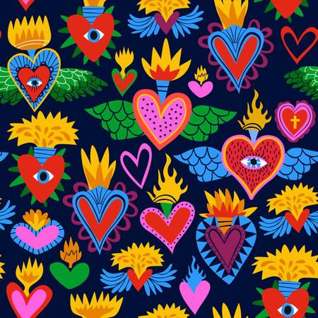 Patrón sin fisuras del sagrado corazón, coloridos corazones religiosos en llamas. Fondo de estilo plano de dibujos animados para San Valentín, día de los muertos o evento religioso tradicional.