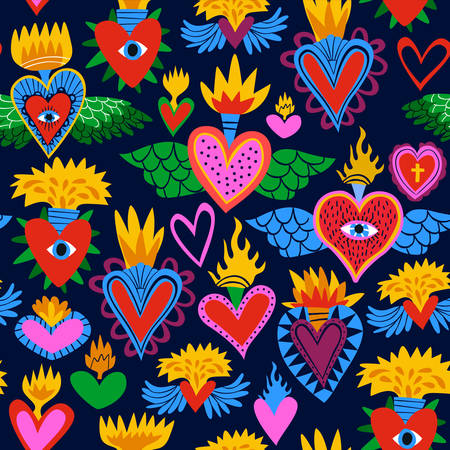 Sacred heart seamless pattern, colorful religious hearts on fire. Flat cartoon style background for valentines, day of the dead or traditional religion event. Illustration