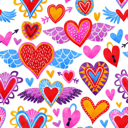 Heart shape seamless pattern, colorful cupid hearts in hand drawn watercolor art style for valentines day holiday or romantic event. Foto de archivo - 132180348