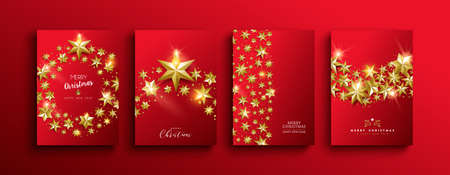 Merry Christmas and Happy New year luxury greeting card set. Elegant 3d gold stars on festive red background.