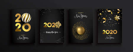 Happy New Year 2020 greeting card set of luxury 3d gold glitter decoration on modern elegant black background. Includes gift ribbon, bauble and festive confetti.