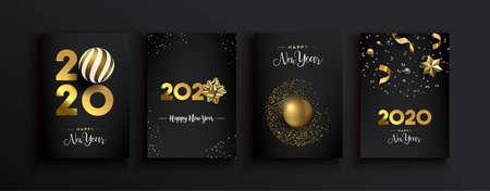 Szczęśliwego Nowego Roku 2020 zestaw z życzeniami luksusowej dekoracji 3d złoty brokat na nowoczesnym eleganckim czarnym tle. W zestawie wstążka prezentowa, bombka i odświętne konfetti.