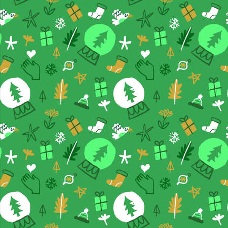 Green Christmas seamless pattern hand drawn eco friendly holiday nature icons. Winter season doodle background for sustainable xmas concept useful for print or wrapping paper. Ilustracja