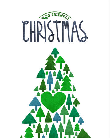 Merry Christmas eco friendly sustainable greeting card illustration of holiday xmas tree made with cute green watercolor pine plants.