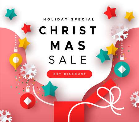 Modèle de vente de Noël, boîte-cadeau de Noël colorée avec décoration de vacances découpée en papier pour une remise web de saison spéciale. Vecteurs